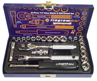 24 PIECE 1/4 DRIVE SOCKET SET (METRIC & SAE)