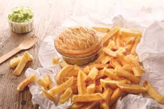 Homemade Mince and Cheese Pie with chips