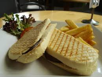 Chicken and brie panini with small fries