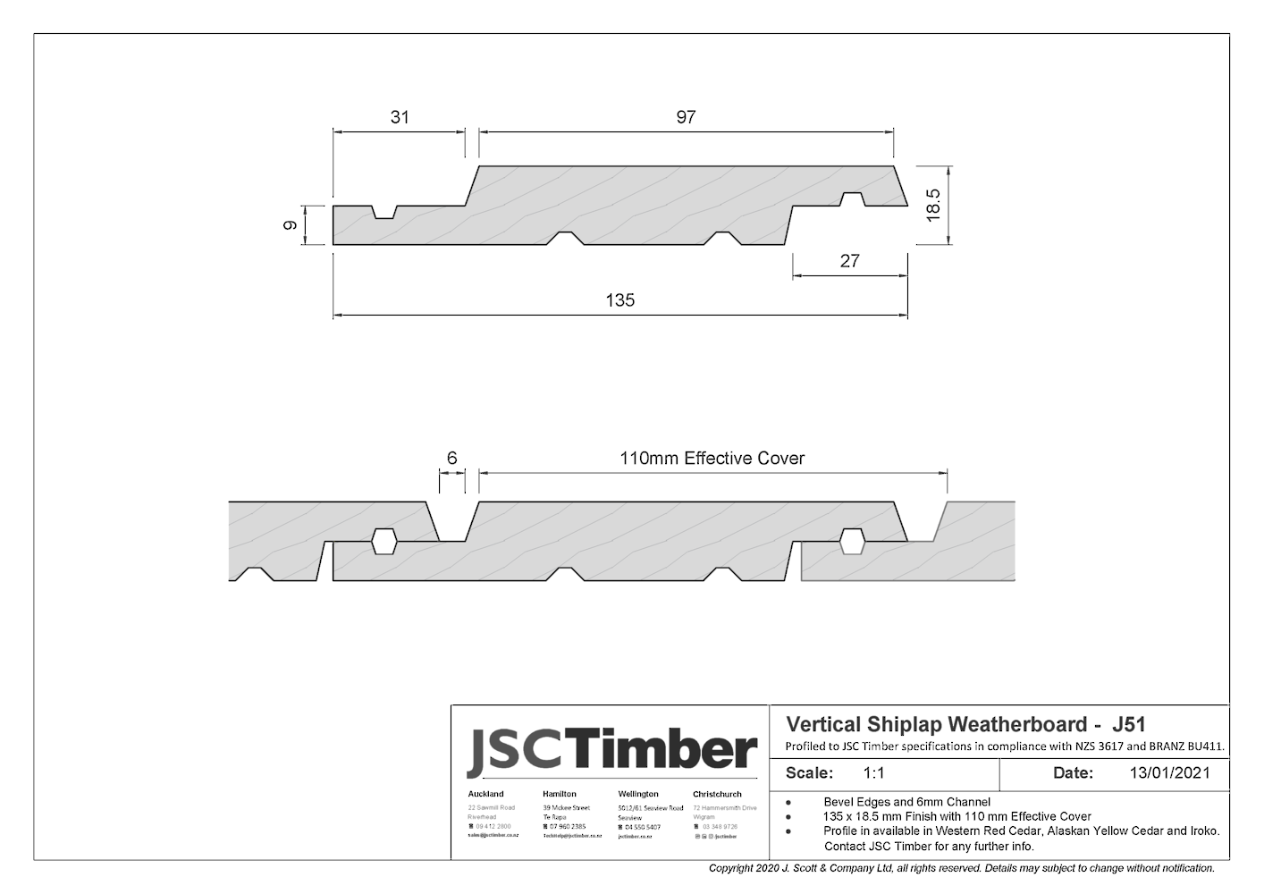 J51 Vertical Shiplap Weatherboard