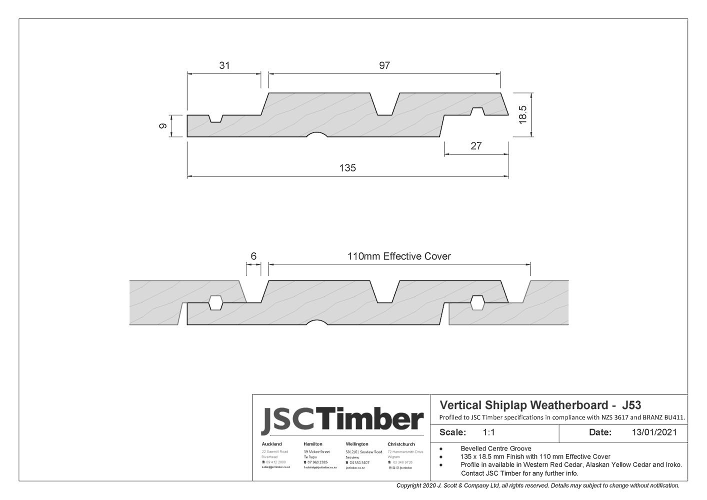 J53 Vertical Shiplap Weatherboard