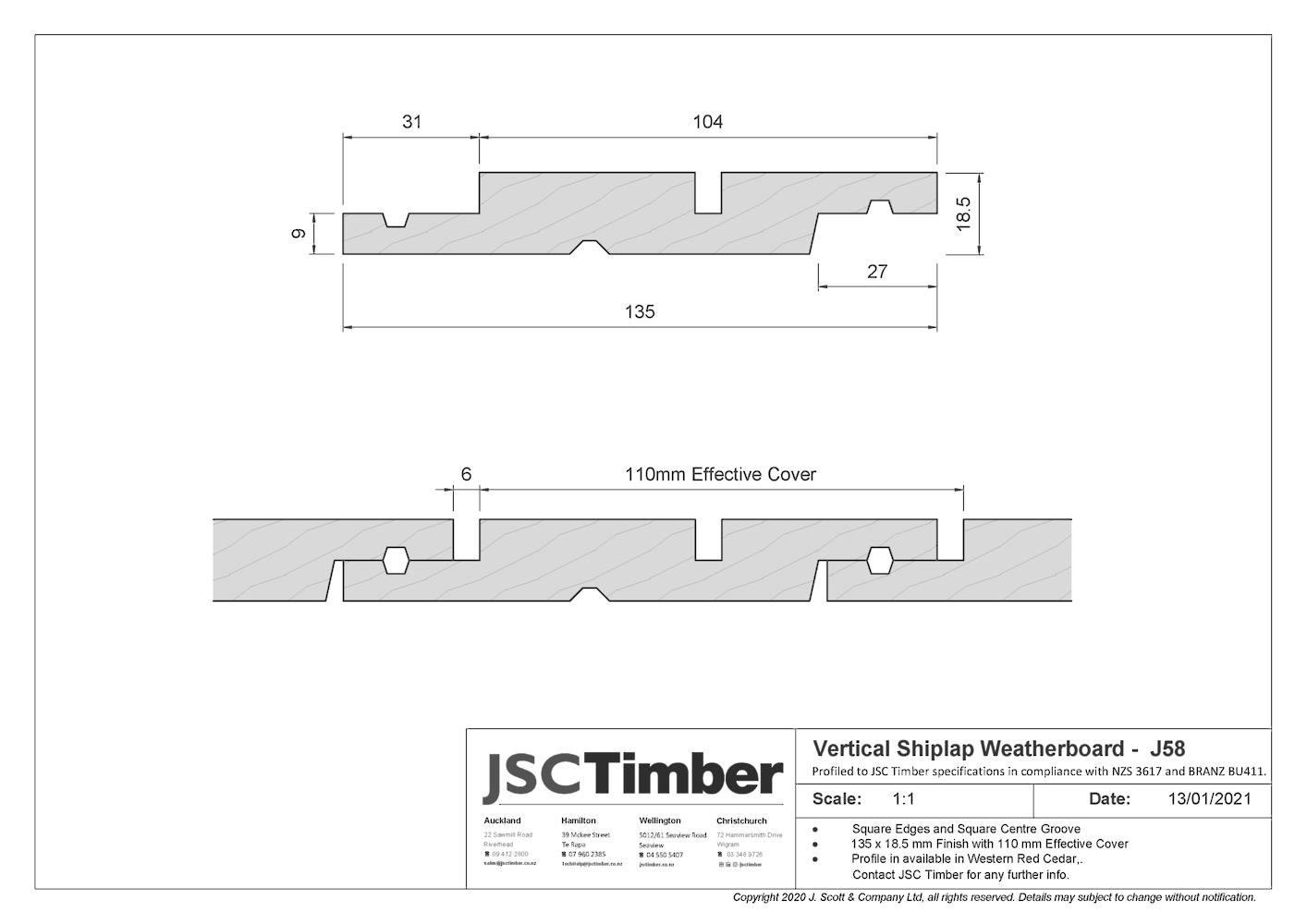 J58 Vertical Shiplap Weatherboard