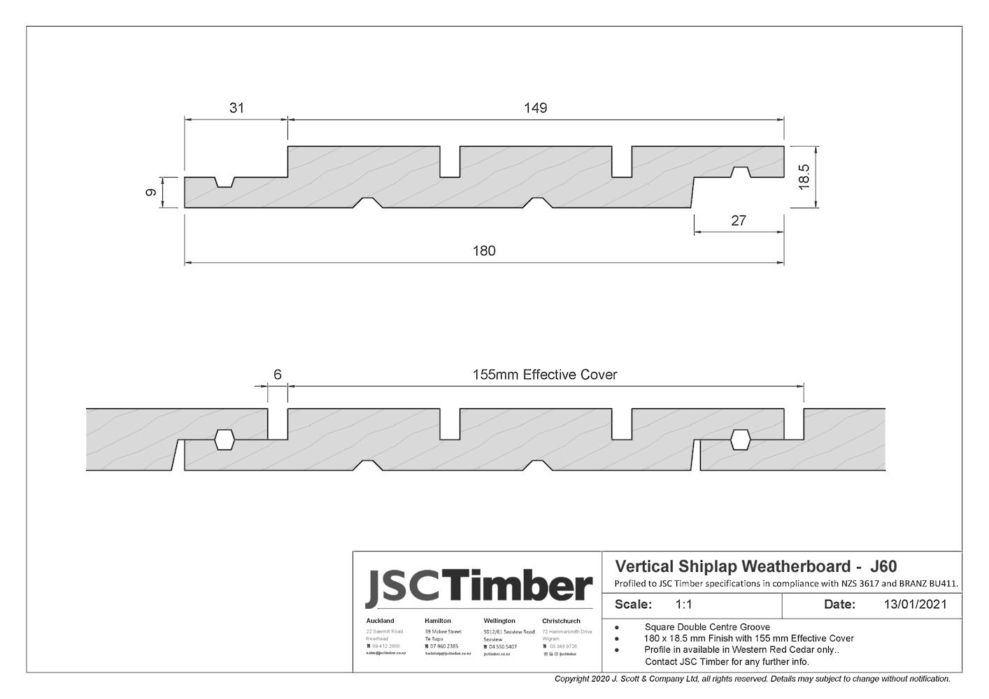 J60 Vertical Shiplap Weatherboard
