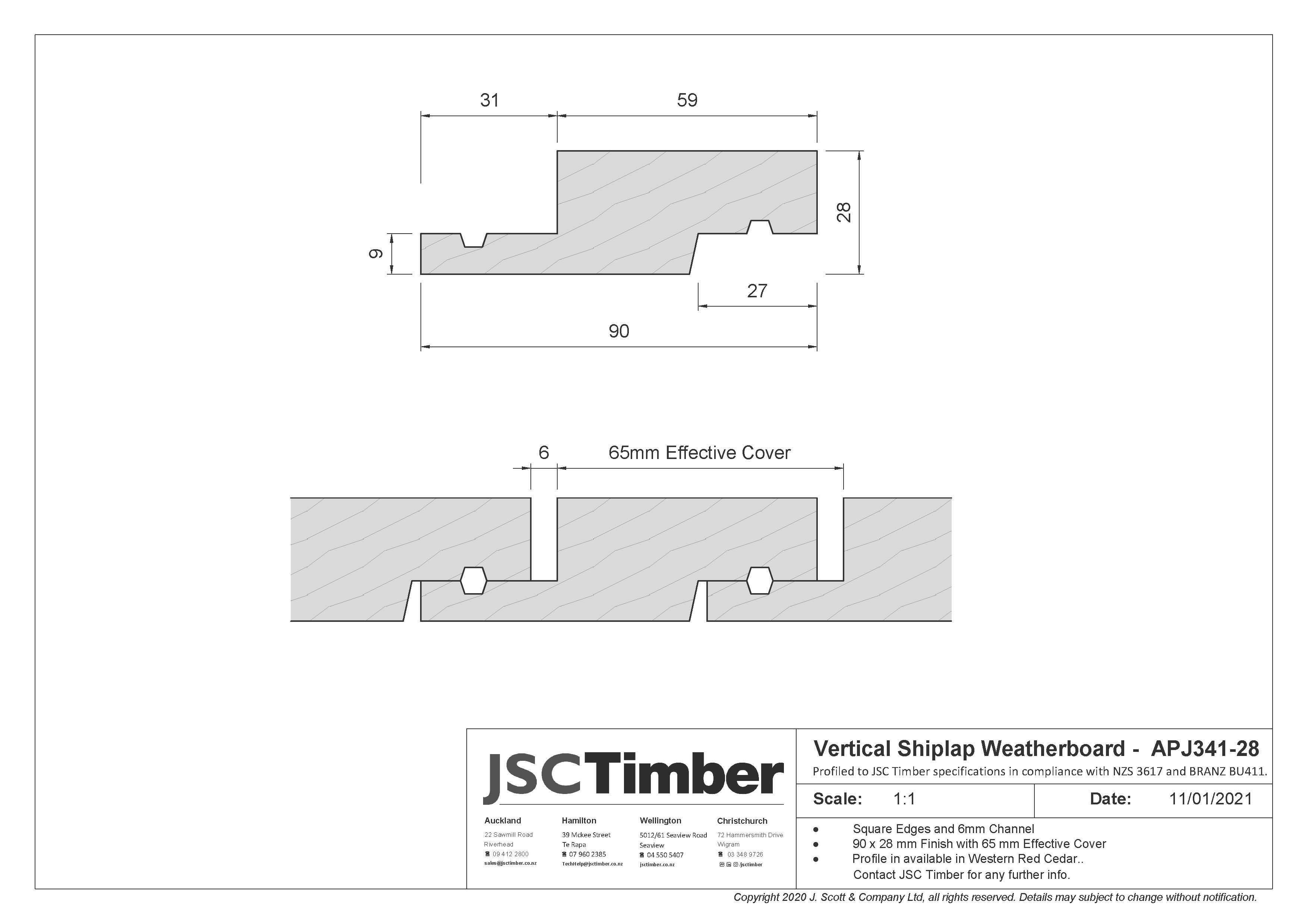 APJ341-28 Vertical Shiplap Weatherboard