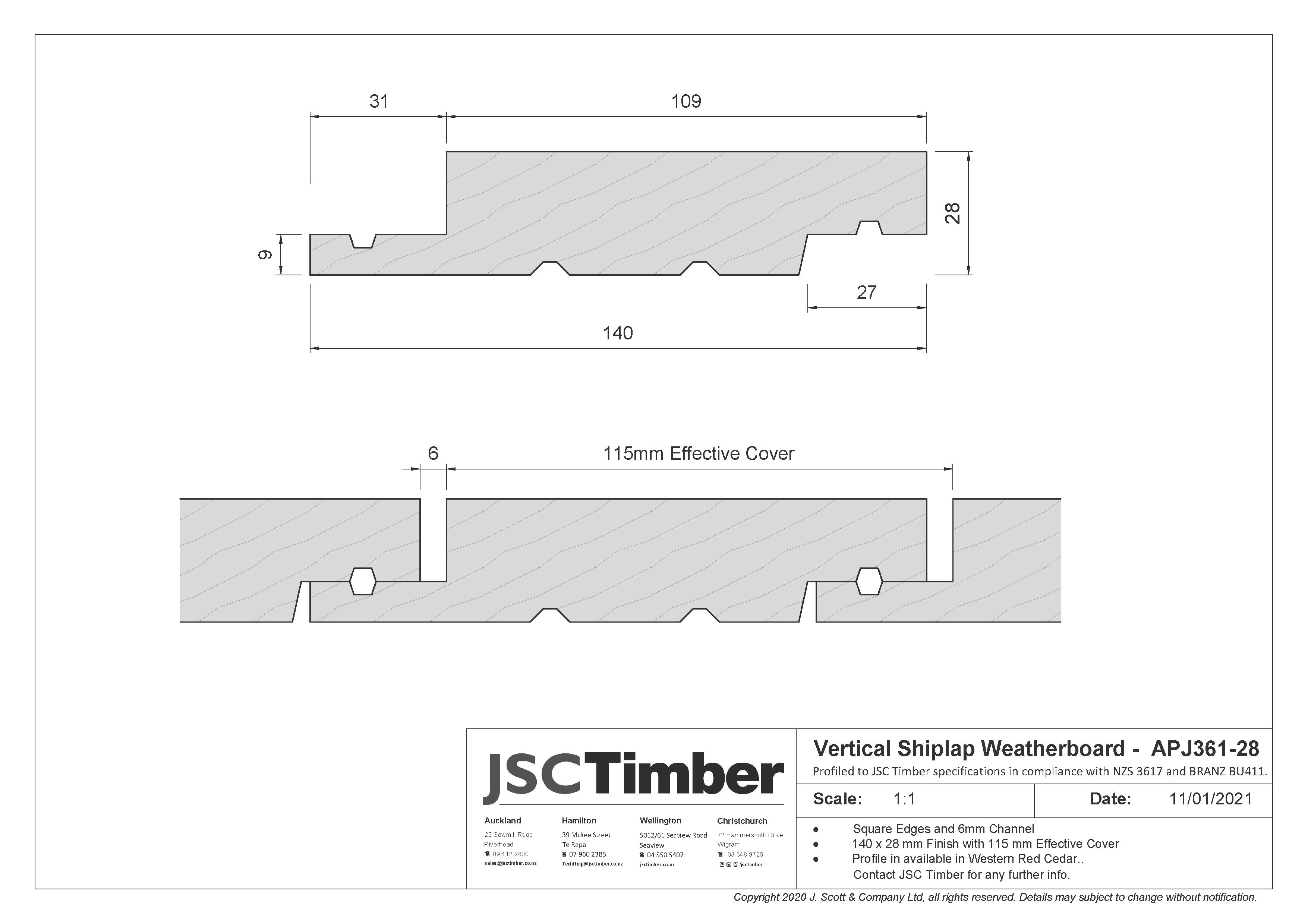 APJ361-28 Vertical Shiplap Weatherboard