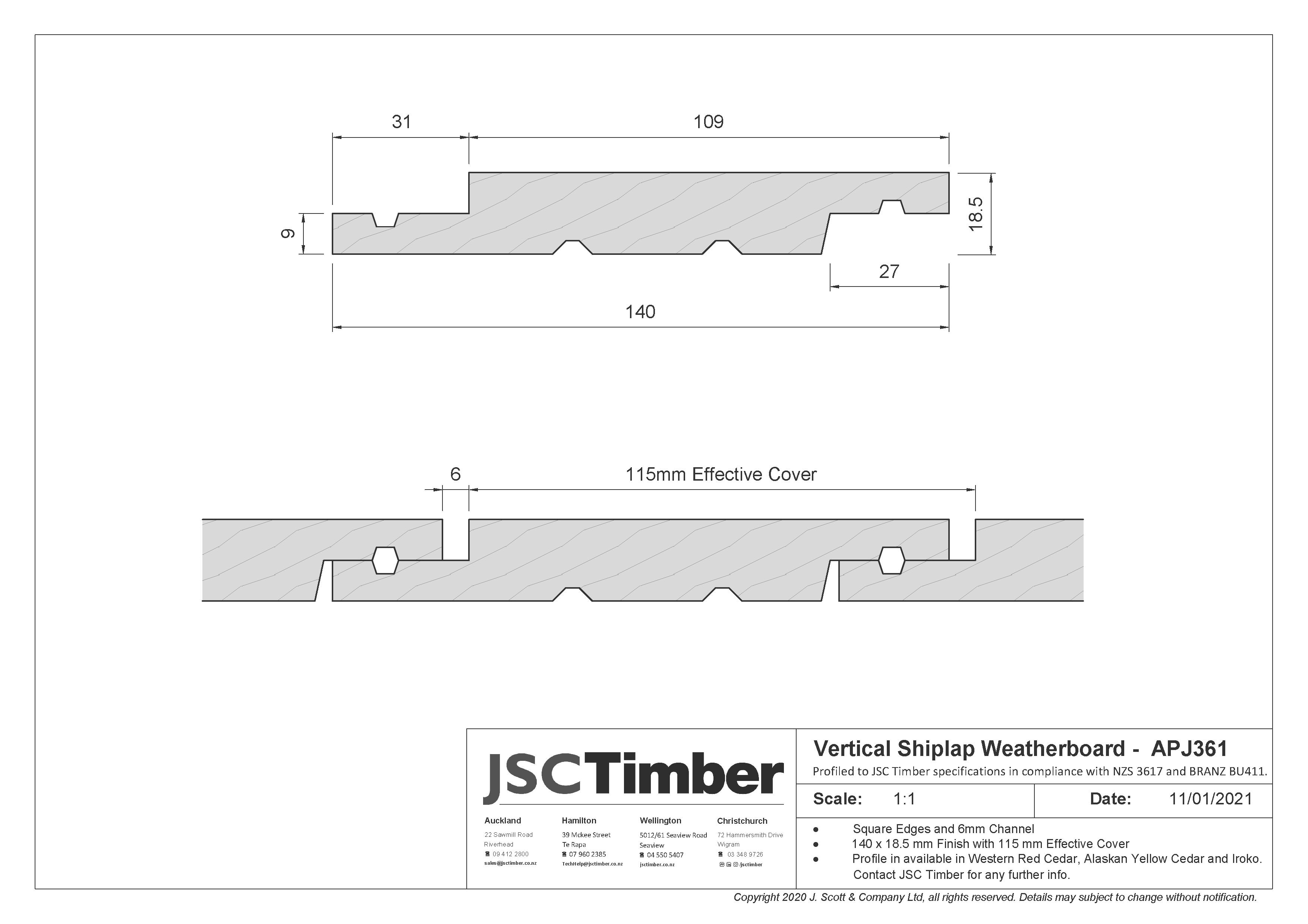 APJ361 Vertical Shiplap Weatherboard