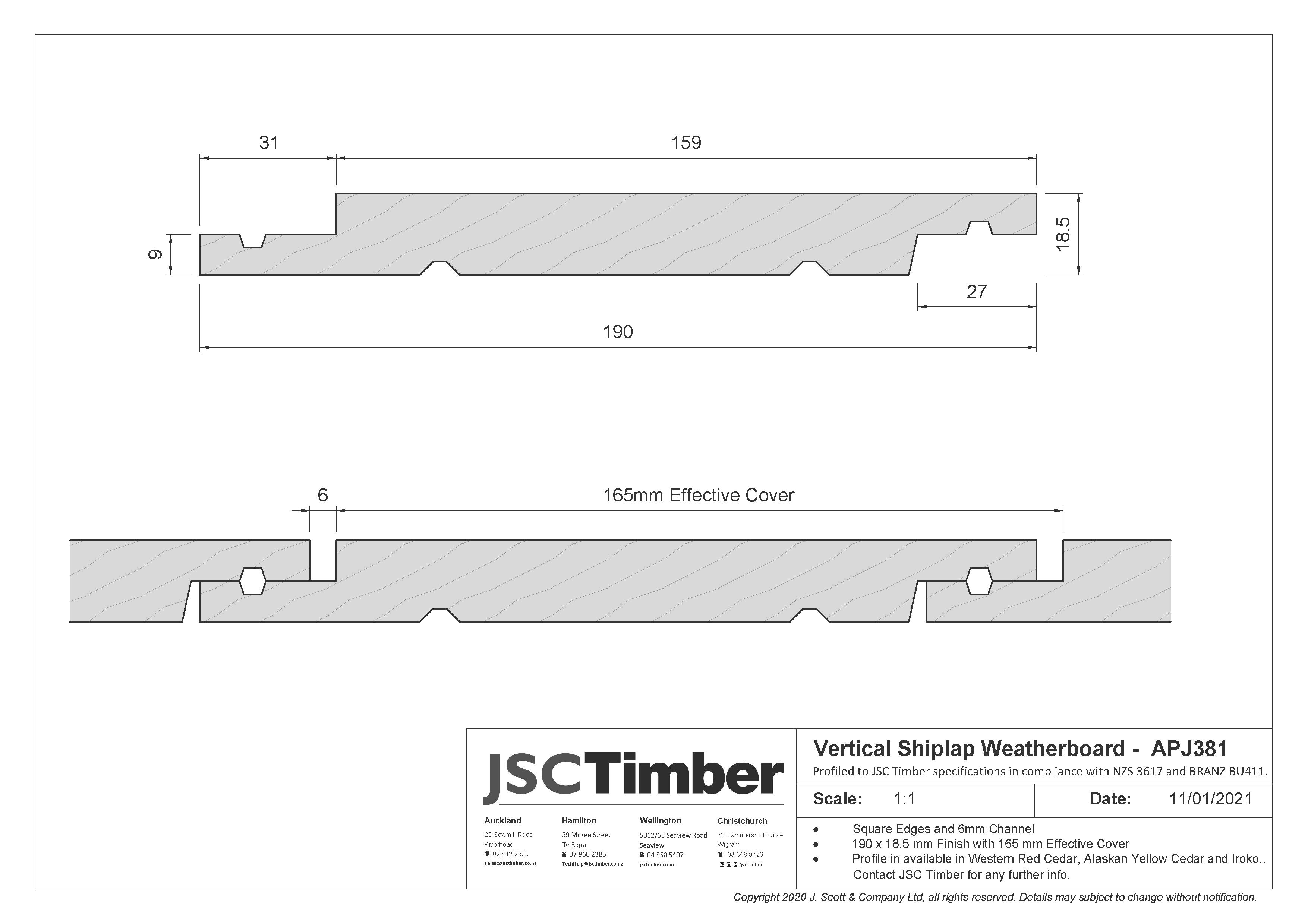 APJ381 Vertical Shiplap Weatherboard