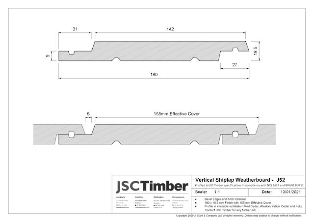 J52 Vertical Shiplap Weatherboard