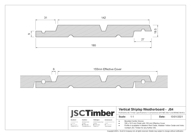 J54 Vertical Shiplap Weatherboard