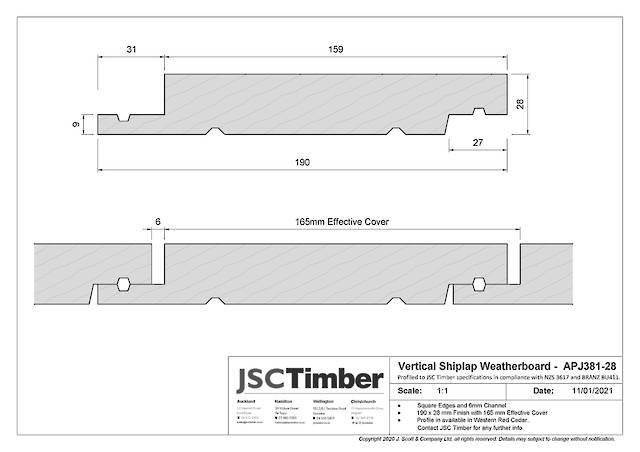 APJ381-28 Vertical Shiplap Weatherboard