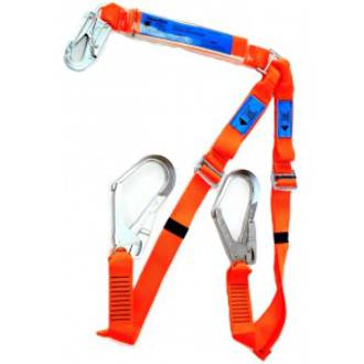 Spanset 1.8m Adjustable Twin Lanyard c/w Scaff Hks