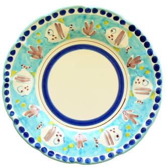 Hand-Painted Ceramics Pesce Dessert /Pasta plate Light Blue