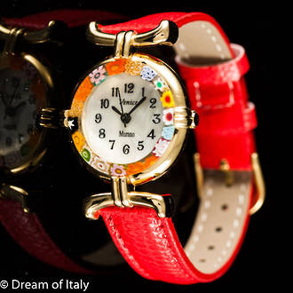 Murano Glass Millefiori Watch Red Strap Gold