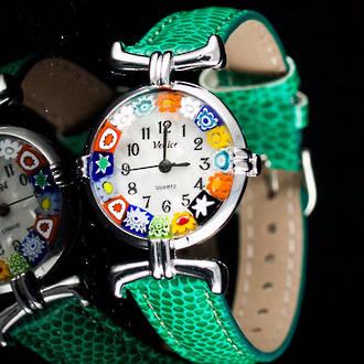 Millefiori Watch (Chrome) Green Strap