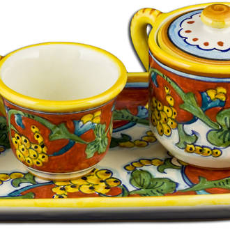 Hand-Painted Ceramics Corallo Espresso Coffee Set for Two Oblong Tray