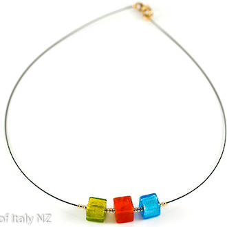 Murano Glass Pendant Chokers - Glass Cubes in Red, Green and Blue