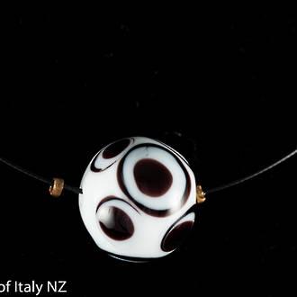 Murano Glass Choker Single Bead, White Black