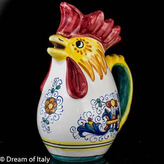 Hand Painted Ceramic Ricco Deruta Rooster Jug (medium)