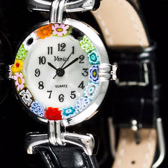 Murano Glass Millefiori Watch (Chrome)