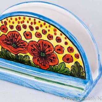 Hand-Painted Ceramics Papaveri Napkin Holder