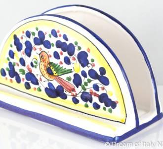 Hand-Painted Ceramics Arabesque Deruta Napkin Holder