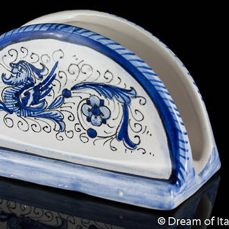 Italian Ceramics Blue Raffaellesque Napkin Holder