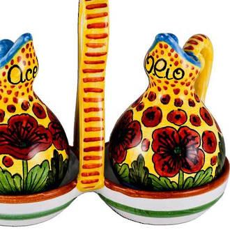 Hand-Painted Ceramics Papaveri Oil and Vinegar Set