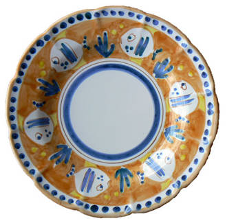 Hand-Painted Ceramics Pesce Side Plate Orange