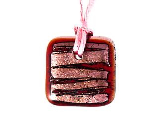 Murano Glass Pendant Pink Foil