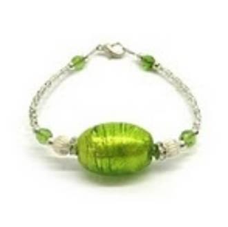 Murano Glass Bracelet Oval Light Green
