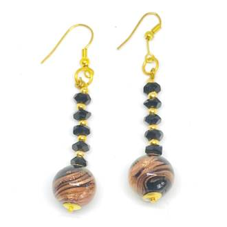 Murano Glass Bead Earrings - Venezia (Black/Rose Gold Leaf)