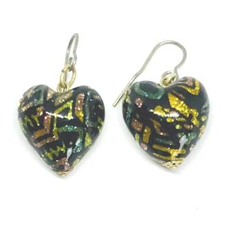 Murano Glass Bead Earrings - Hearts (black/multi)