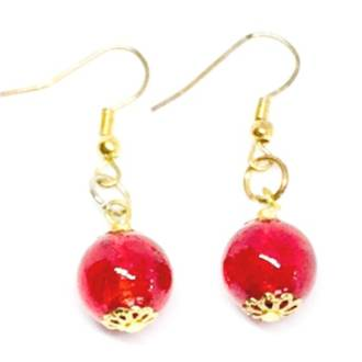 Murano Glass Bead Earrings - Maria (Gold/Red)