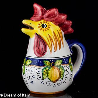 Hand-Painted Ceramic Alcantara Rooster Jug (Large)