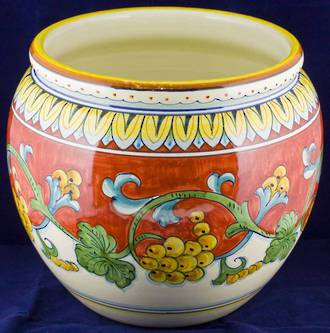 Hand-Painted Ceramics Corallo Cache Pot