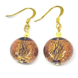 Murano Glass Bead Earrings - Elena (Amber/Gold)