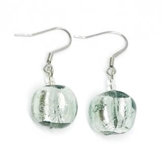 Murano Glass Bead Earrings - Elena (Grey/Silver)