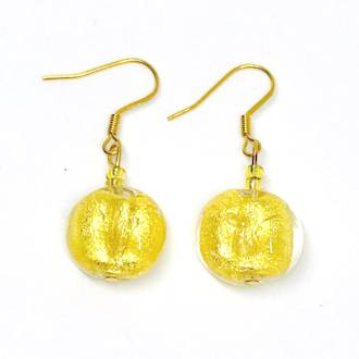 Murano Glass Bead Earrings - Elena - Gold