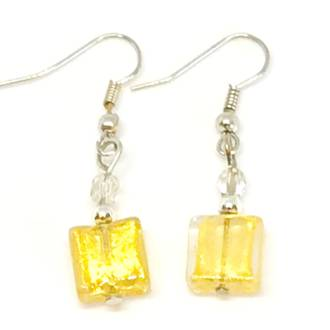 Murano Glass Bead Earrings - Sabbia (Gold)