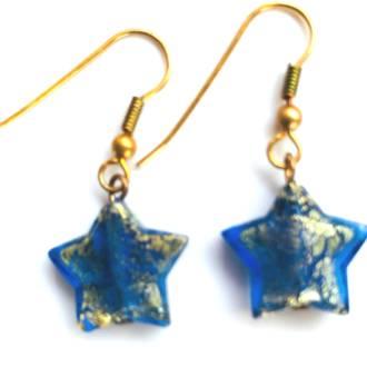 Murano Glass Bead Earrings - Simona Star (Blue/Gold)