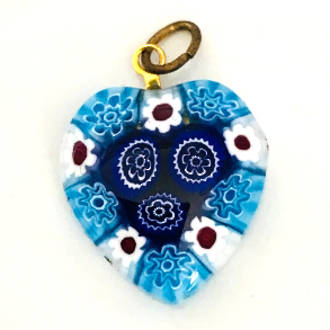 Murano Glass Pendant Millefiori Heart 20mm 2