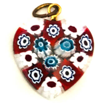 Murano Glass Pendant Millefiori Heart 20mm 7
