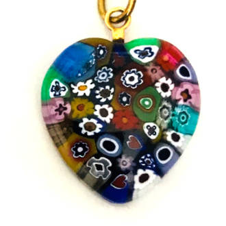 Murano Glass Pendant Millefiori Heart 20mm 6