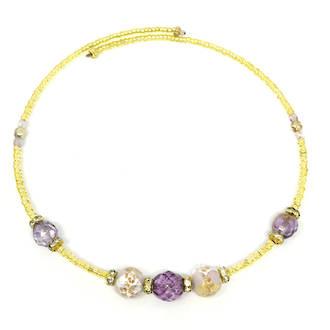 Murano Glass Bead choker - Lilac/Gold