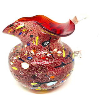 Murano Glass Fazzoletto Jug - Red