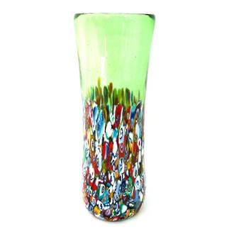 Murano Glass Vase with Millefiori Beads 190mm - Green