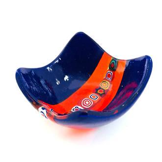 Murano Glass Dish with Millefiori Beads Dark Blue
