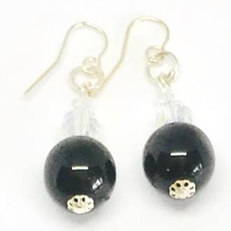 Murano Glass Bead Earrings - Martina (Black)