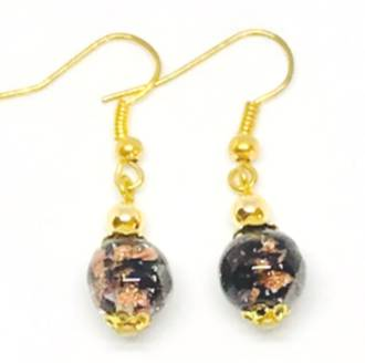 Murano Glass Bead Earrings - Corintia - Black/Gold