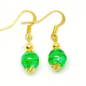 Murano Glass Corintia Earrings - Green/Gold (B)